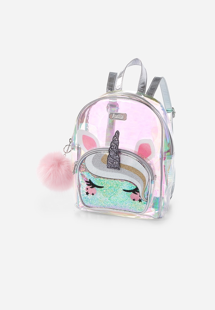 KWD10.5 / QR130 / AED135 / BD14 / JD32 / SAR150 / OMR13      Unicorn See Through Holographic Mini Backpack    16140181619